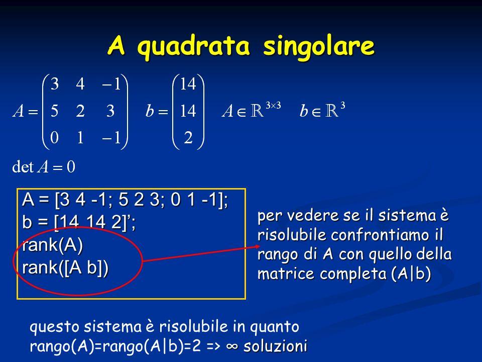A quadrata singolare A = [3 4 -1; 5 2 3; 0 1 -1]; b = [14 14 2]';
